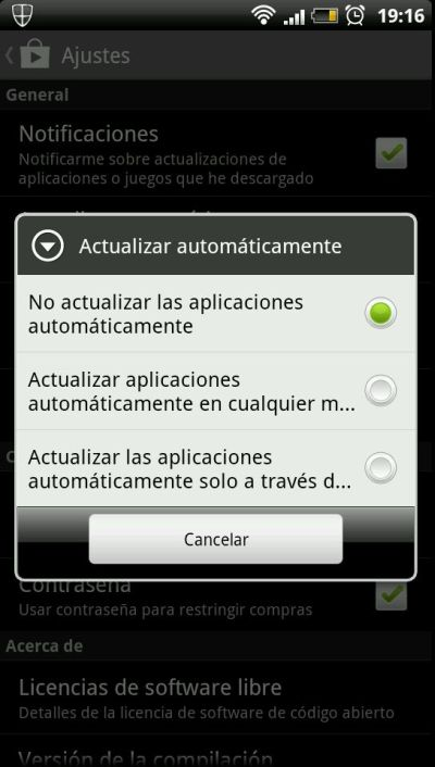actualizaciones de apps en Google play