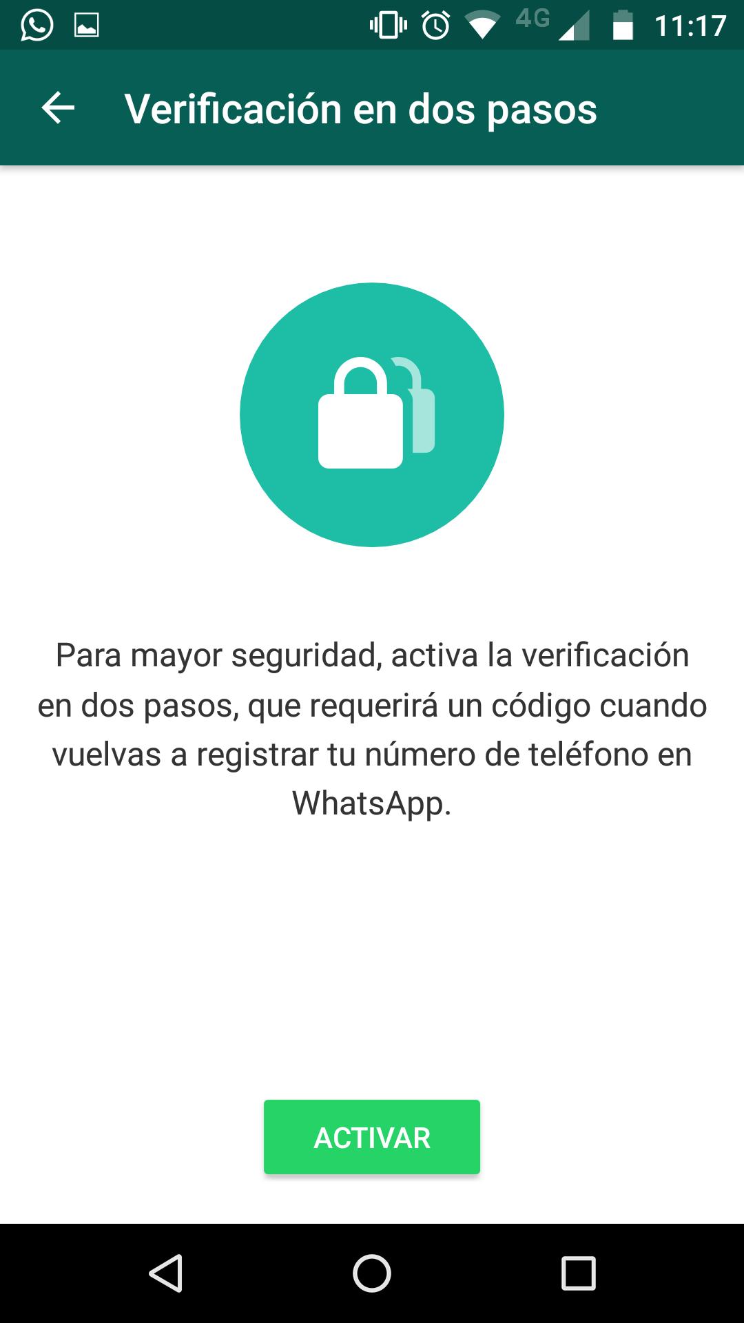 """Activar función """"verificación en dos pasos"""" de WhatsApp"""