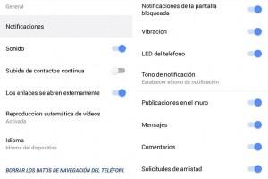 Deshabilitar las notificaciones de Facebook en Android