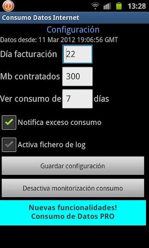 configuracion app consumo datos 3g