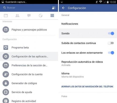 Deshabilitar las notificaciones de Facebook en Android.1